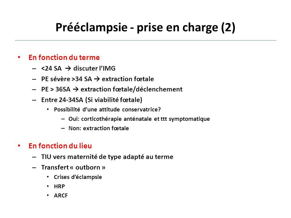 Prééclampsie - prise en charge (2) En fonction du terme – <24 SA → discuter l'IMG – PE sévère >34 SA → extraction fœtale – PE > 36SA → extraction fœta