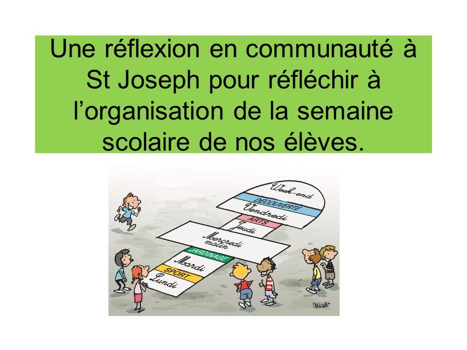 Une réflexion en communauté à St Joseph pour réfléchir à l'organisation de la semaine scolaire de nos élèves.