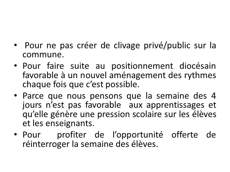 Pour ne pas créer de clivage privé/public sur la commune.
