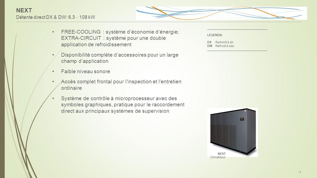 NEXT Détente direct DX & DW: 6,3 - 108 kW 14 FREE-COOLING : système d'économie d'énergie; EXTRA-CIRCUIT : système pour une double application de refro