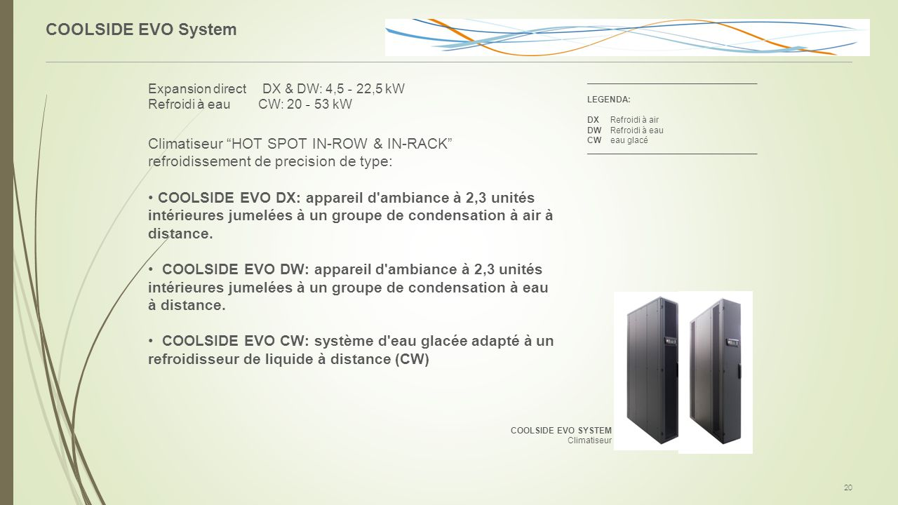 """COOLSIDE EVO System 20 Expansion direct DX & DW: 4,5 - 22,5 kW Refroidi à eau CW: 20 - 53 kW Climatiseur """"HOT SPOT IN-ROW & IN-RACK"""" refroidissement d"""