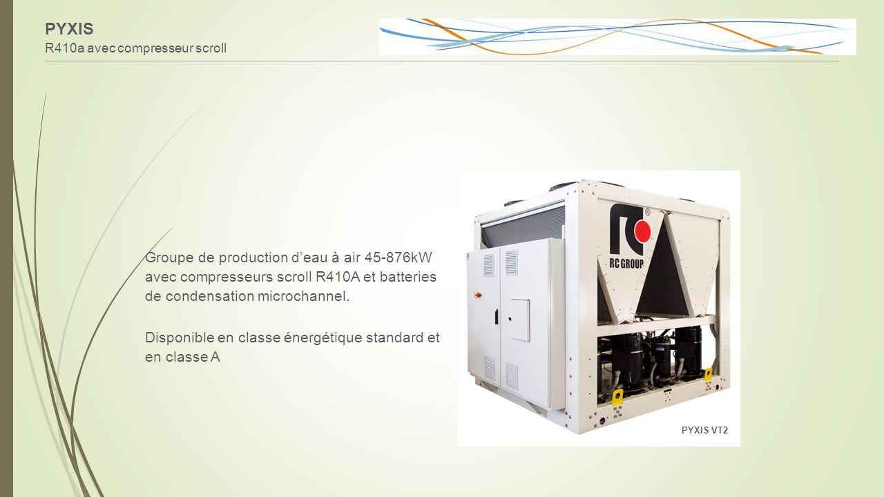 PYXIS R410a avec compresseur scroll Groupe de production d'eau à air 45-876kW avec compresseurs scroll R410A et batteries de condensation microchannel