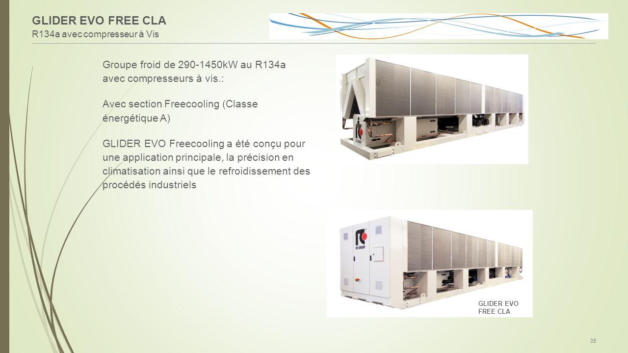 R134a avec compresseur à Vis 35 Groupe froid de 290-1450kW au R134a avec compresseurs à vis.: Avec section Freecooling (Classe énergétique A) GLIDER E