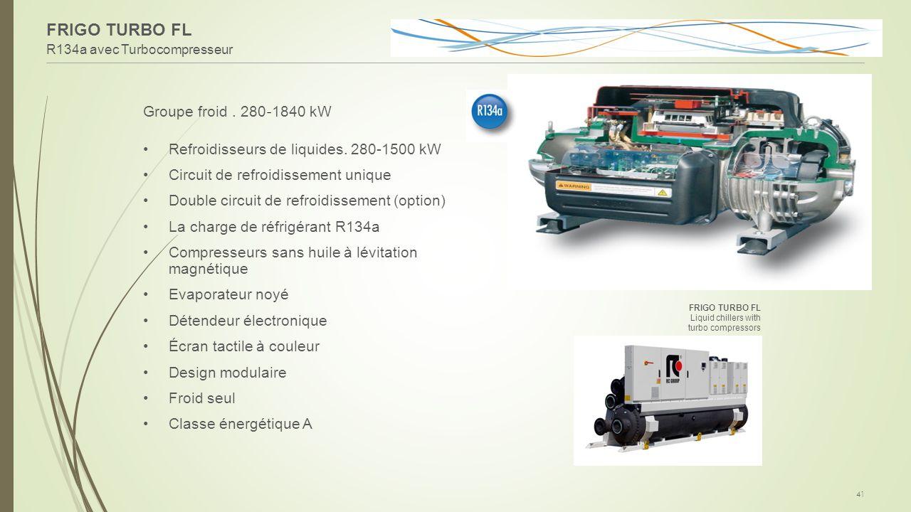R134a avec Turbocompresseur 41 Groupe froid. 280 - 1840 kW Refroidisseurs de liquides. 280-1500 kW Circuit de refroidissement unique Double circuit de