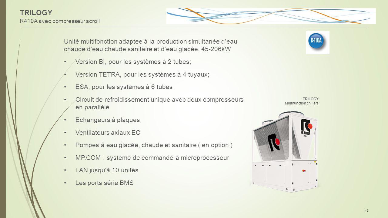 TRILOGY R410A avec compresseur scroll 43 Unité multifonction adaptée à la production simultanée d'eau chaude d'eau chaude sanitaire et d'eau glacée. 4