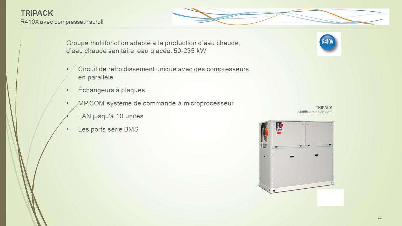 TRIPACK R410A avec compresseur scroll 44 Groupe multifonction adapté à la production d'eau chaude, d'eau chaude sanitaire, eau glacée. 50-235 kW Circu