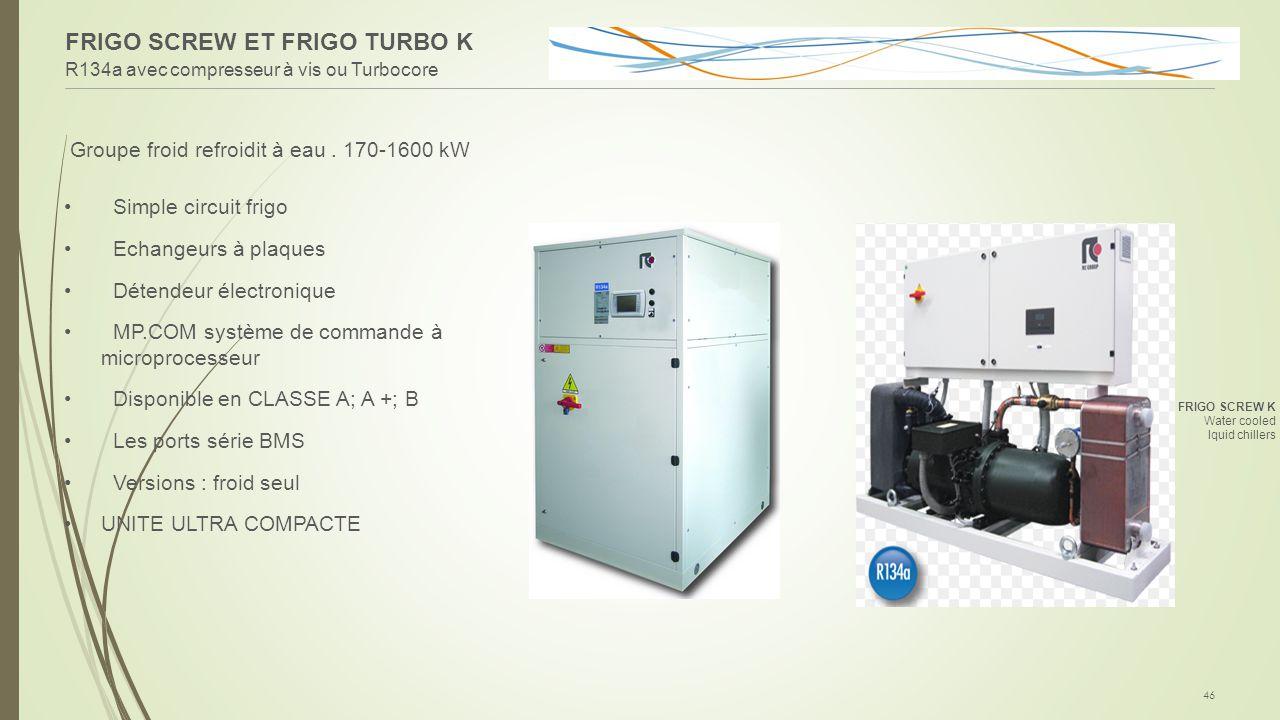 FRIGO SCREW ET FRIGO TURBO K R134a avec compresseur à vis ou Turbocore 46 Groupe froid refroidit à eau. 170-1600 kW Simple circuit frigo Echangeurs à