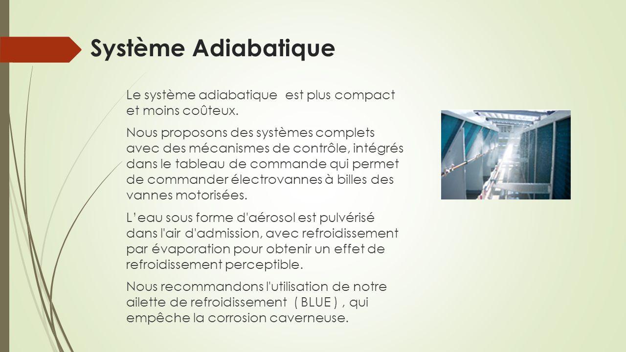Système Adiabatique Le système adiabatique est plus compact et moins coûteux. Nous proposons des systèmes complets avec des mécanismes de contrôle, in