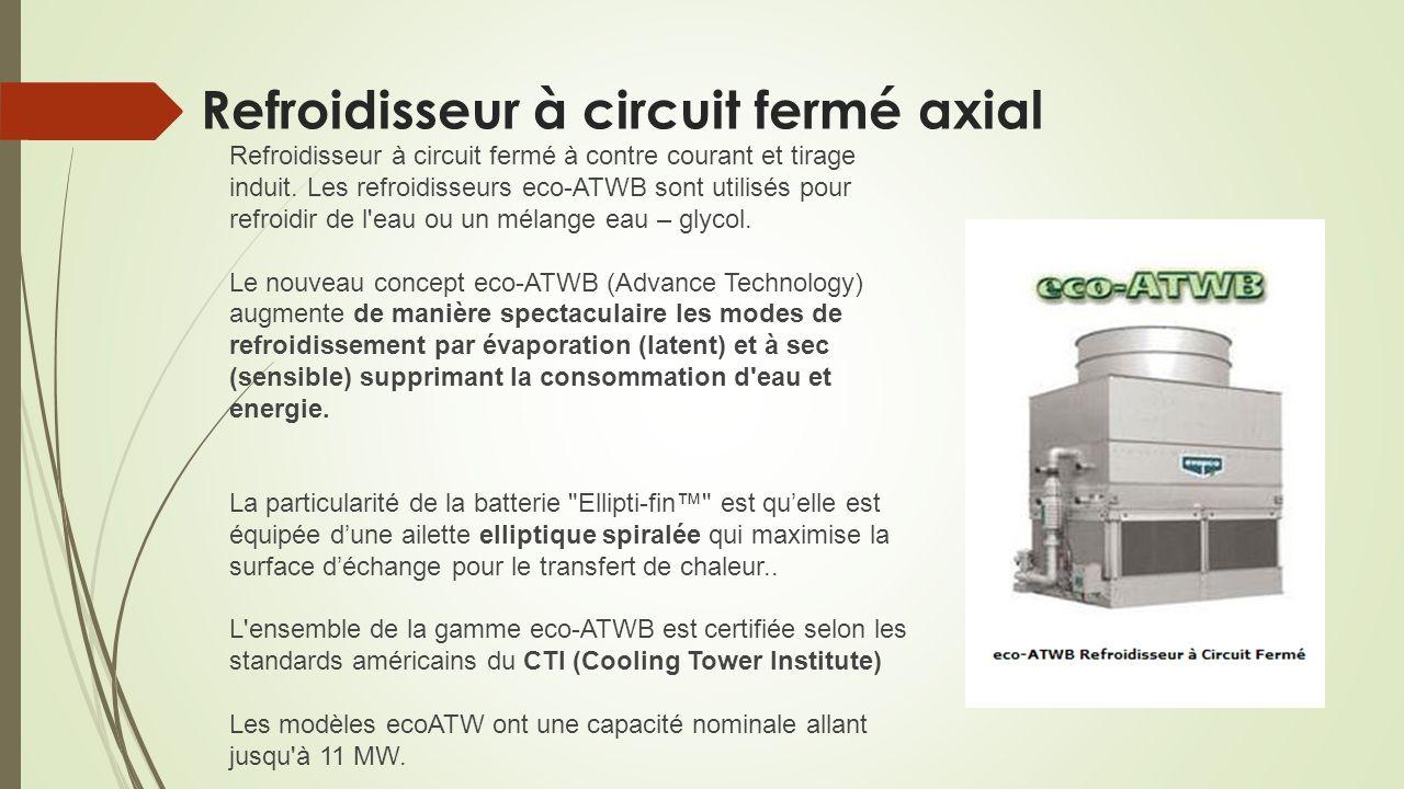 Refroidisseur à circuit fermé axial Refroidisseur à circuit fermé à contre courant et tirage induit. Les refroidisseurs eco-ATWB sont utilisés pour re
