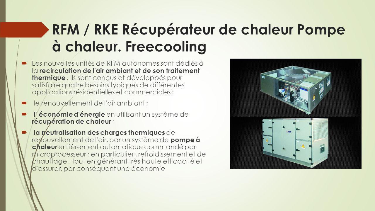 RFM / RKE Récupérateur de chaleur Pompe à chaleur. Freecooling  Les nouvelles unités de RFM autonomes sont dédiés à la recirculation de l'air ambiant