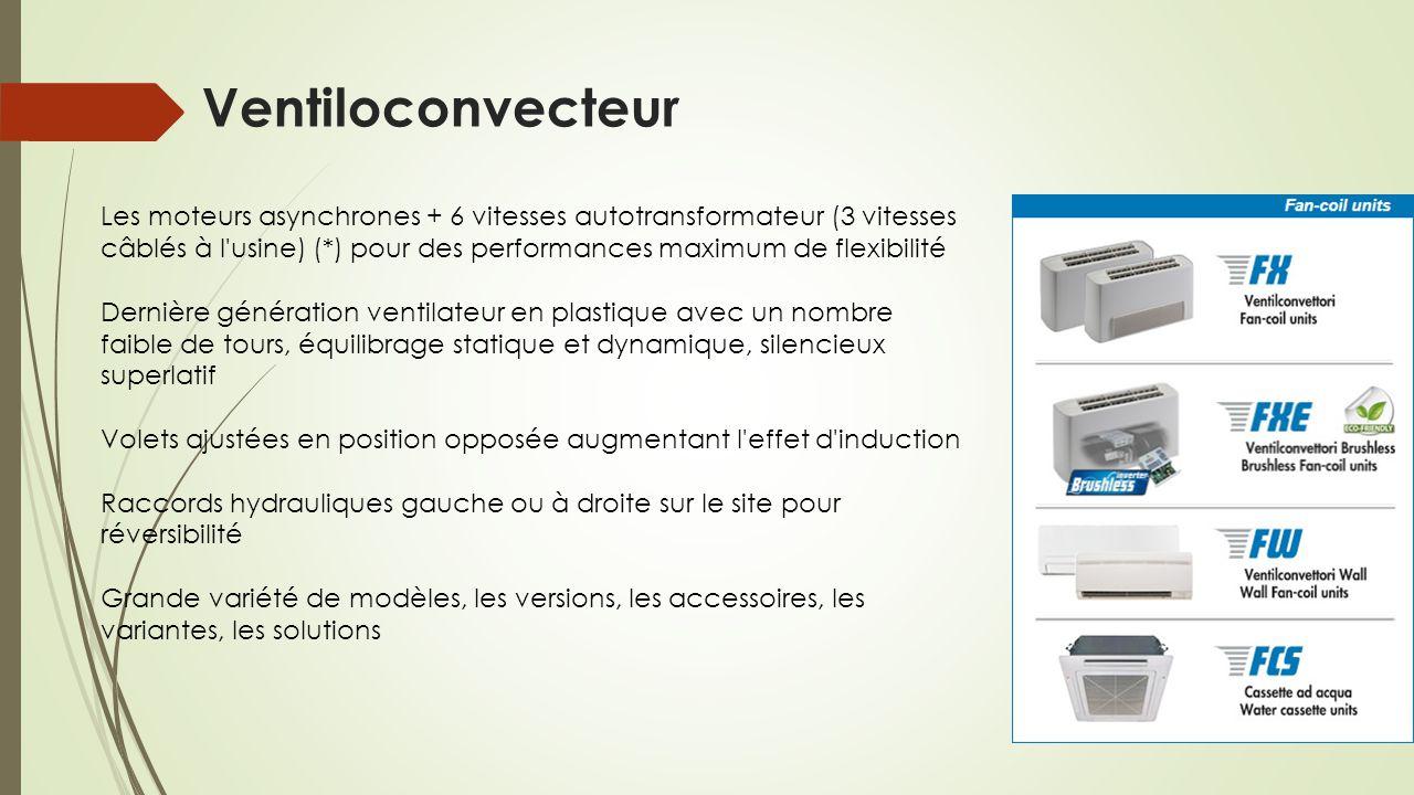 Ventiloconvecteur Les moteurs asynchrones + 6 vitesses autotransformateur (3 vitesses câblés à l'usine) (*) pour des performances maximum de flexibili