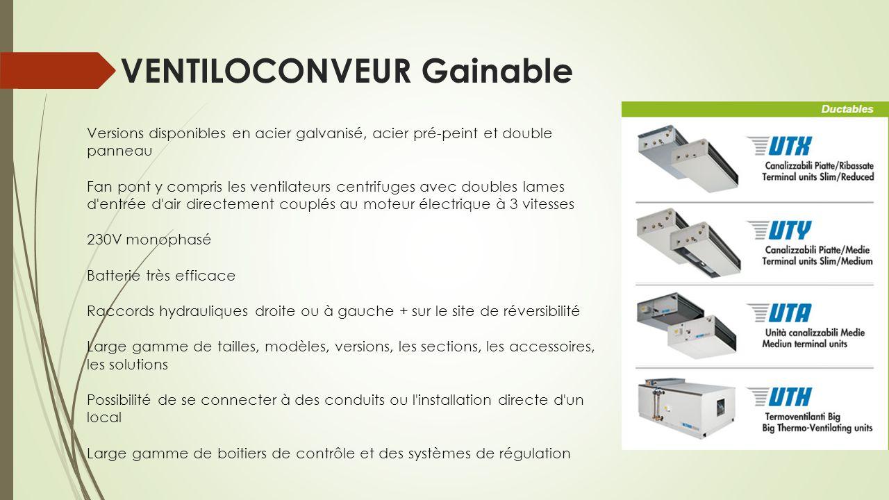 VENTILOCONVEUR Gainable Versions disponibles en acier galvanisé, acier pré-peint et double panneau Fan pont y compris les ventilateurs centrifuges ave