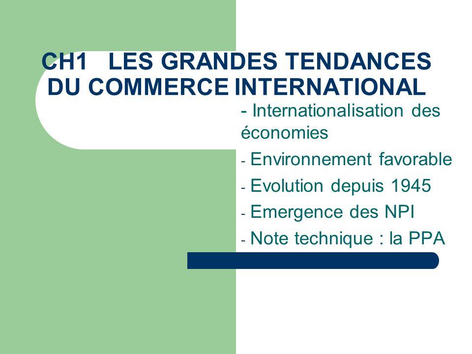 CH1 LES GRANDES TENDANCES DU COMMERCE INTERNATIONAL - Internationalisation des économies - Environnement favorable - Evolution depuis 1945 - Emergence