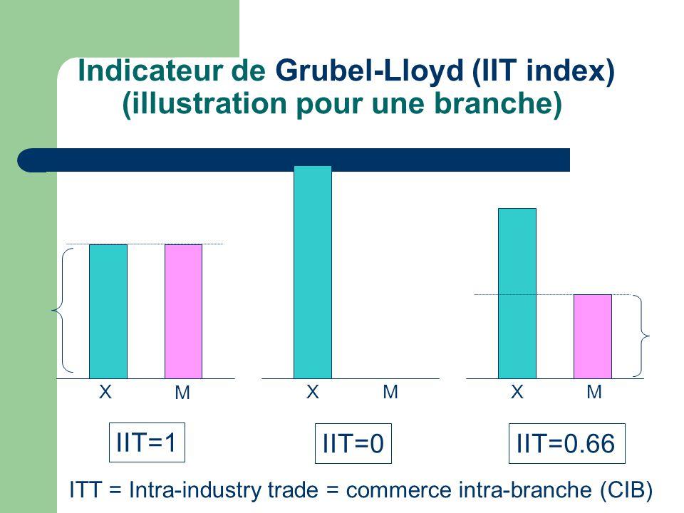Indicateur de Grubel-Lloyd (IIT index) (illustration pour une branche) X M X M X M IIT=1 IIT=0IIT=0.66 ITT = Intra-industry trade = commerce intra-bra