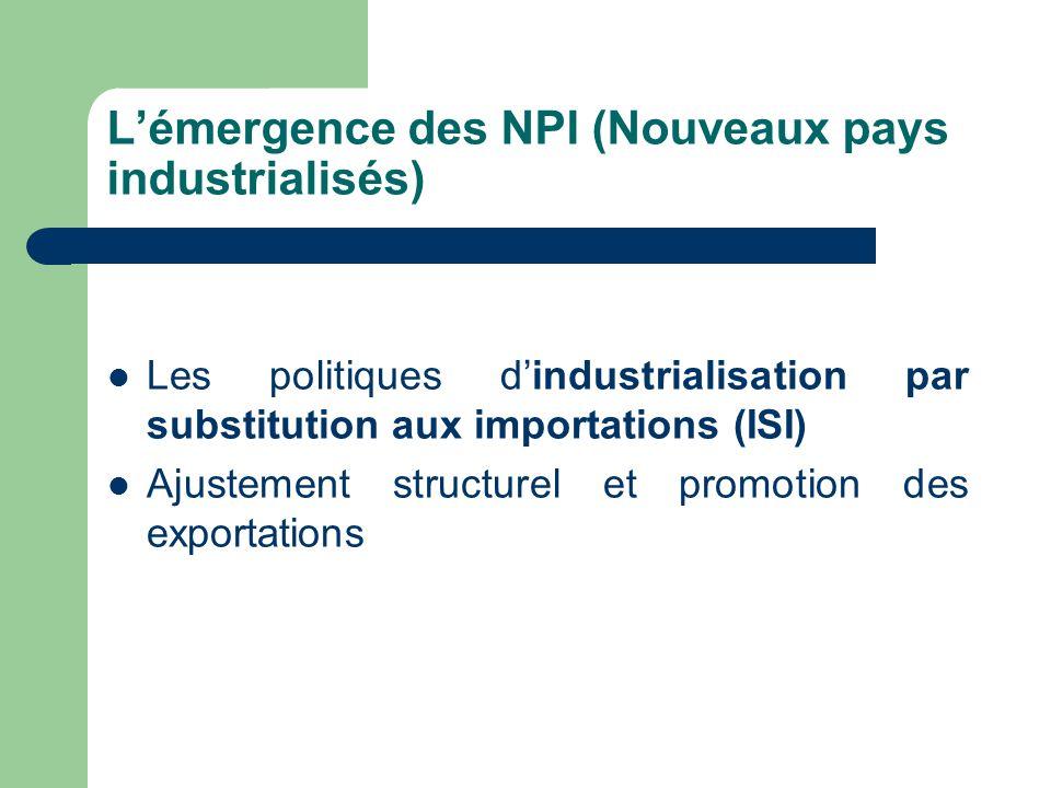 L'émergence des NPI (Nouveaux pays industrialisés) Les politiques d'industrialisation par substitution aux importations (ISI) Ajustement structurel et