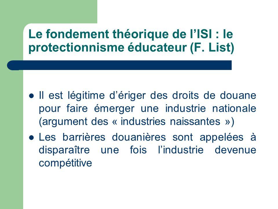 Le fondement théorique de l'ISI : le protectionnisme éducateur (F. List) Il est légitime d'ériger des droits de douane pour faire émerger une industri