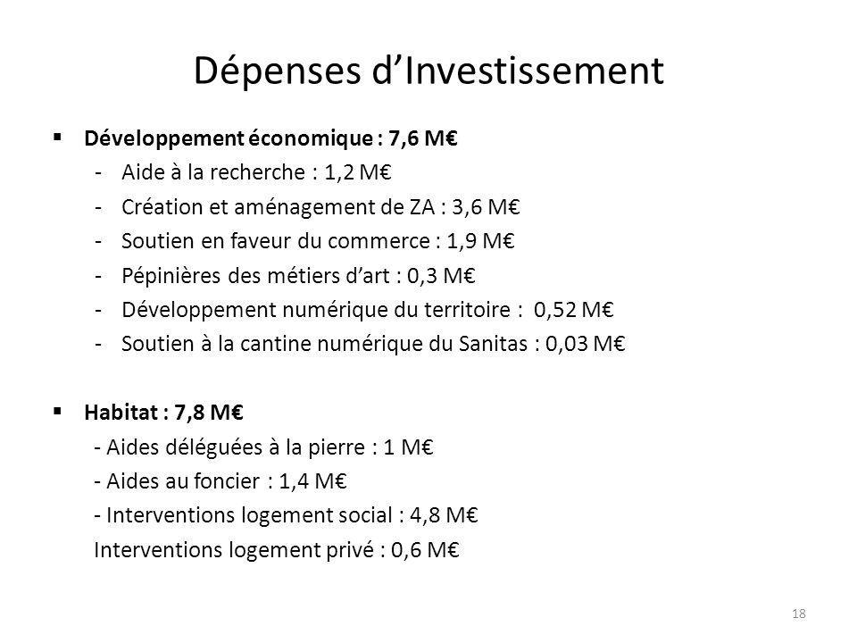 Dépenses d'Investissement  Développement économique : 7,6 M€ -Aide à la recherche : 1,2 M€ -Création et aménagement de ZA : 3,6 M€ -Soutien en faveur du commerce : 1,9 M€ -Pépinières des métiers d'art : 0,3 M€ -Développement numérique du territoire : 0,52 M€ -Soutien à la cantine numérique du Sanitas : 0,03 M€  Habitat : 7,8 M€ - Aides déléguées à la pierre : 1 M€ - Aides au foncier : 1,4 M€ - Interventions logement social : 4,8 M€ Interventions logement privé : 0,6 M€ 18