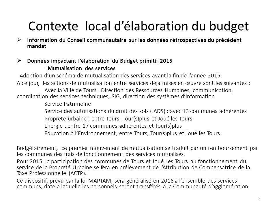 Contexte local d'élaboration du budget  Information du Conseil communautaire sur les données rétrospectives du précèdent mandat  Données impactant l'élaboration du Budget primitif 2015 - Mutualisation des services Adoption d'un schéma de mutualisation des services avant la fin de l'année 2015.