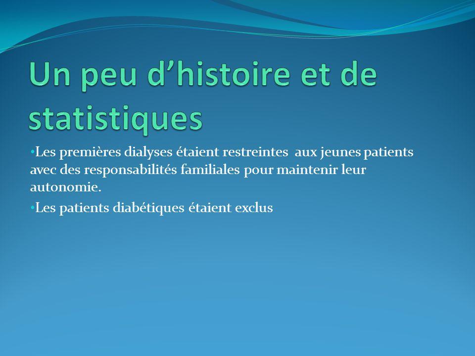 Les premières dialyses étaient restreintes aux jeunes patients avec des responsabilités familiales pour maintenir leur autonomie. Les patients diabéti