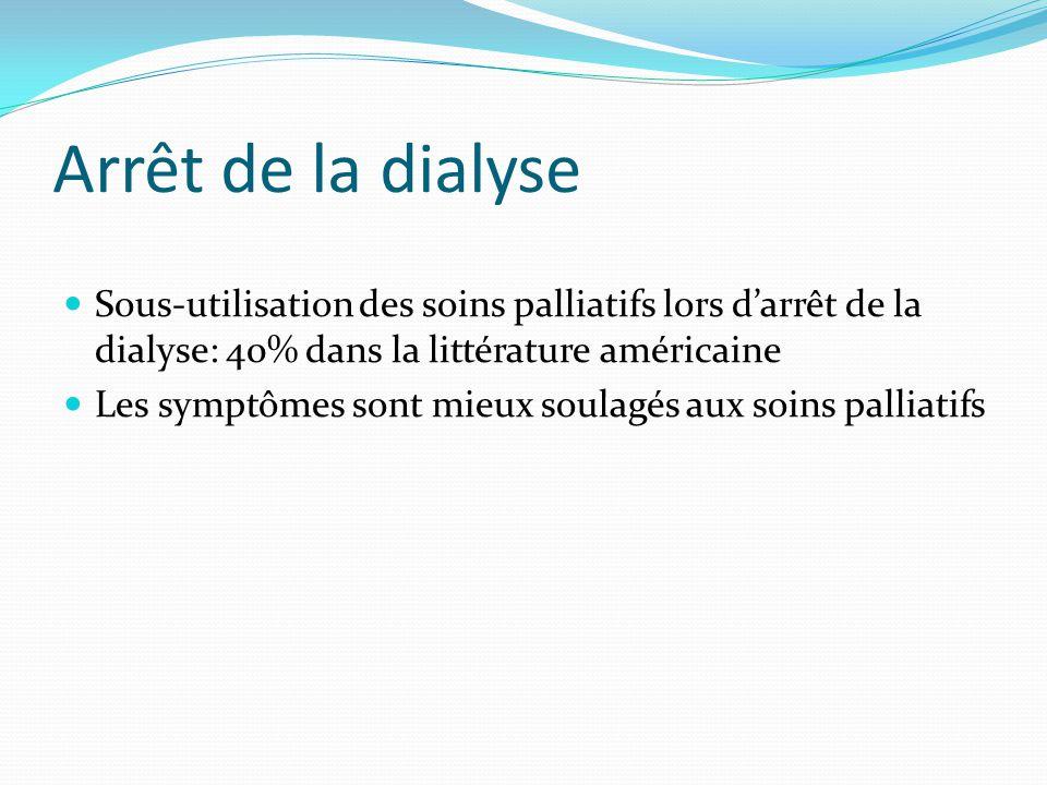Arrêt de la dialyse Sous-utilisation des soins palliatifs lors d'arrêt de la dialyse: 40% dans la littérature américaine Les symptômes sont mieux soul