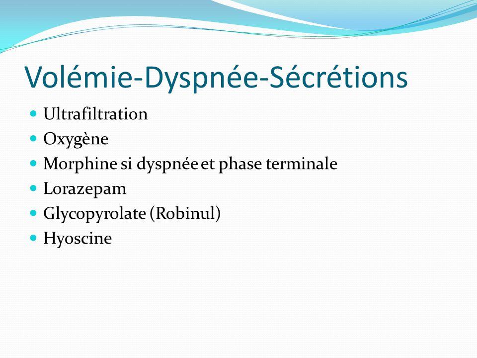 Volémie-Dyspnée-Sécrétions Ultrafiltration Oxygène Morphine si dyspnée et phase terminale Lorazepam Glycopyrolate (Robinul) Hyoscine