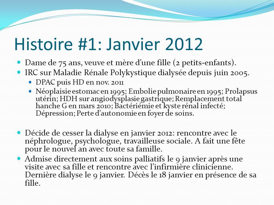 Histoire #1: Janvier 2012 Dame de 75 ans, veuve et mère d'une fille (2 petits-enfants). IRC sur Maladie Rénale Polykystique dialysée depuis juin 2005.