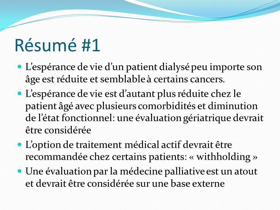 Résumé #1 L'espérance de vie d'un patient dialysé peu importe son âge est réduite et semblable à certains cancers. L'espérance de vie est d'autant plu