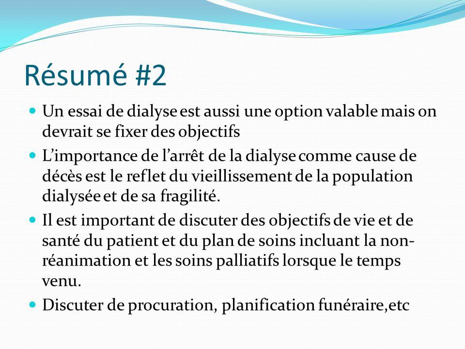 Résumé #2 Un essai de dialyse est aussi une option valable mais on devrait se fixer des objectifs L'importance de l'arrêt de la dialyse comme cause de