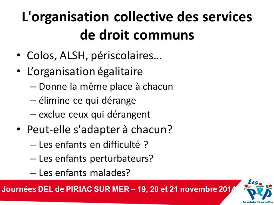 Journées DEL de PIRIAC SUR MER – 19, 20 et 21 novembre 2014 L'organisation collective des services de droit communs Colos, ALSH, périscolaires… L'orga