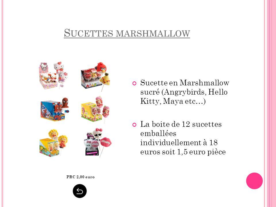 S UCETTES MARSHMALLOW Sucette en Marshmallow sucré (Angrybirds, Hello Kitty, Maya etc…) La boite de 12 sucettes emballées individuellement à 18 euros
