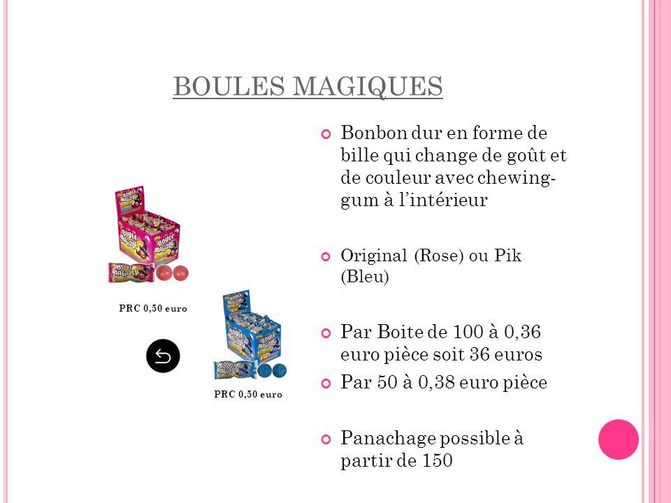 BOULES MAGIQUES Bonbon dur en forme de bille qui change de goût et de couleur avec chewing- gum à l'intérieur Original (Rose) ou Pik (Bleu) Par Boite