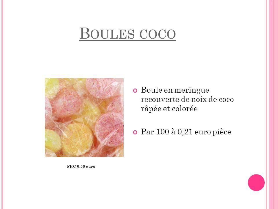 B OULES COCO PRC 0,50 euro Boule en meringue recouverte de noix de coco râpée et colorée Par 100 à 0,21 euro pièce