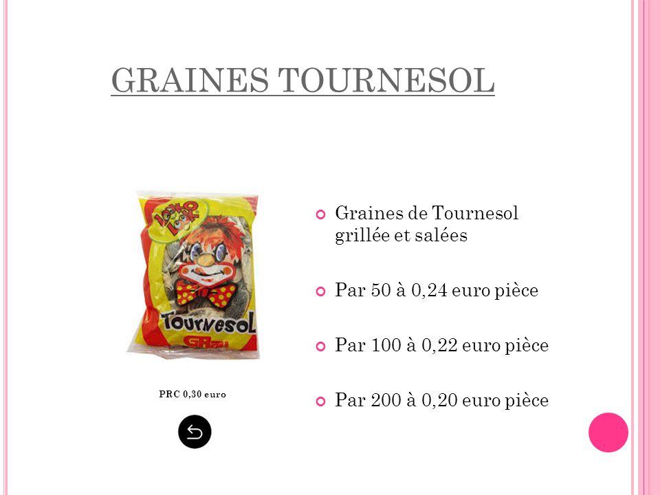 GRAINES TOURNESOL PRC 0,30 euro Graines de Tournesol grillée et salées Par 50 à 0,24 euro pièce Par 100 à 0,22 euro pièce Par 200 à 0,20 euro pièce