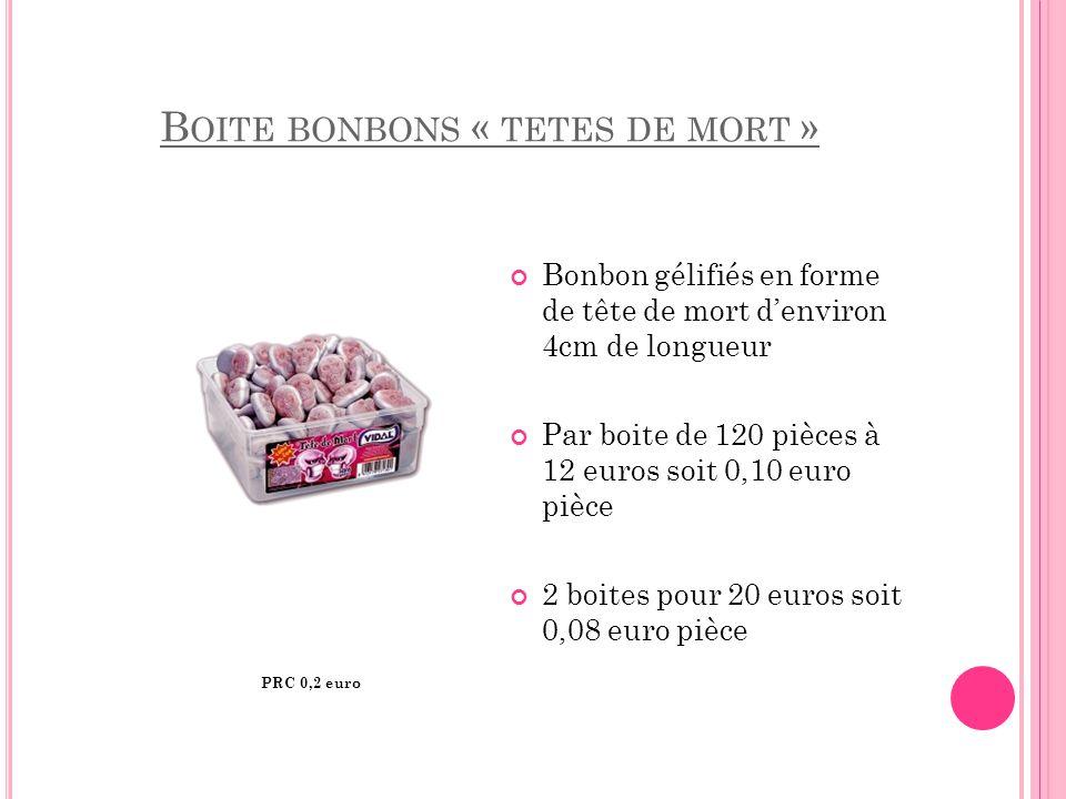 B OITE BONBONS « TETES DE MORT » Bonbon gélifiés en forme de tête de mort d'environ 4cm de longueur Par boite de 120 pièces à 12 euros soit 0,10 euro