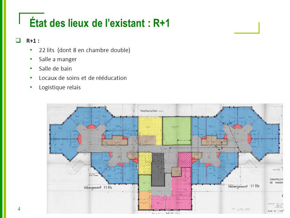  R+1 : 22 lits (dont 8 en chambre double) Salle a manger Salle de bain Locaux de soins et de rééducation Logistique relais État des lieux de l'existant : R+1 4