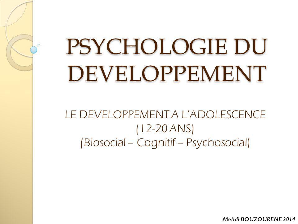 Plan 1- Introduction 2- Le développement biosocial chez l'adolescent 12 à 20 ans a- La puberté une période de transformation b- Les variations quant au début de la puberté c- Les impacts psychologique et comportementaux des transformations pubertaires 3- Le développement cognitif chez l'adolescent 12 à 20 ans a- Les progrès de la pensée 4- Le développement psychosocial chez l'adolescent 12 à 20 ans a- La quête de l'identité b- L'univers social de l'adolescent c- Les amours et la sexualité d- Des problèmes particuliers 5- Références