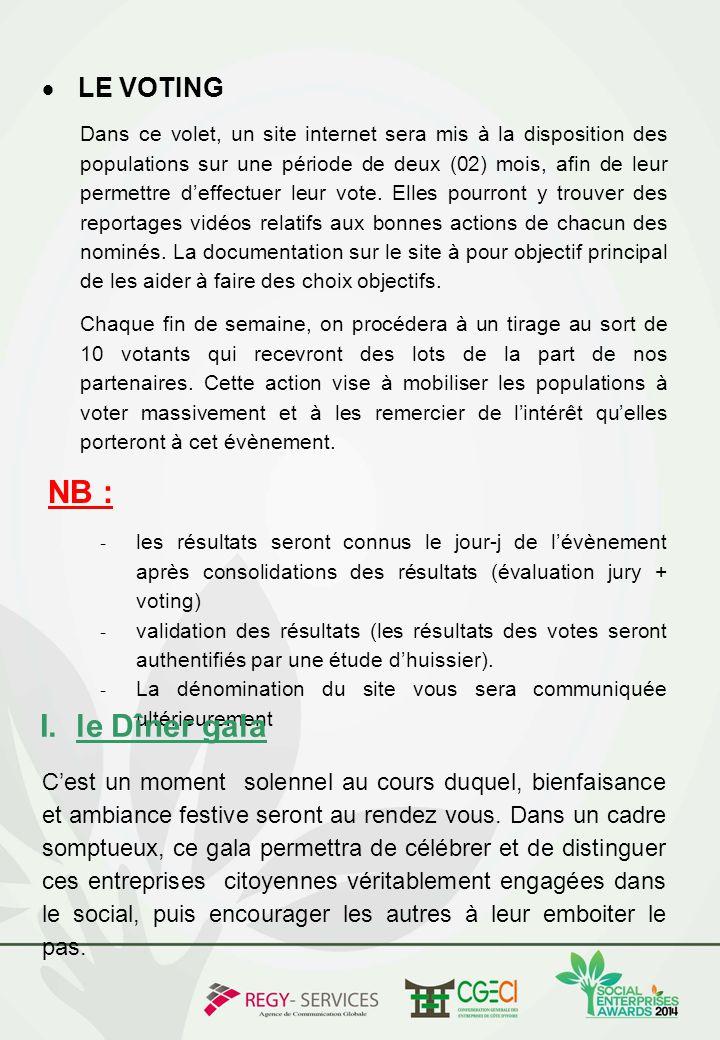  LE VOTING Dans ce volet, un site internet sera mis à la disposition des populations sur une période de deux (02) mois, afin de leur permettre d'effe