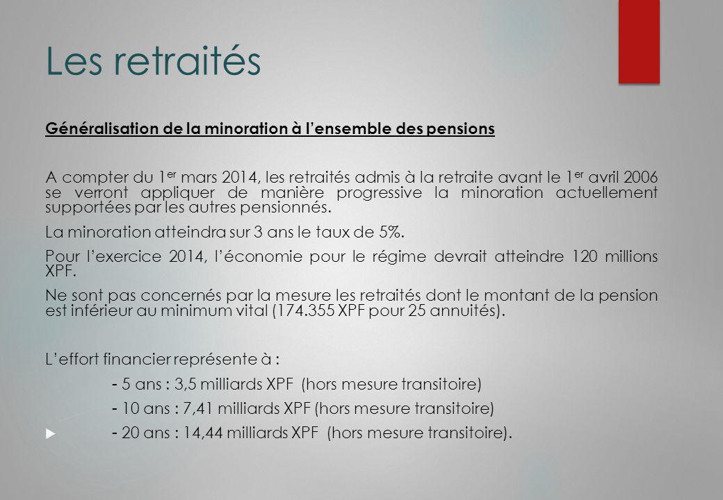 Les retraités Généralisation de la minoration à l'ensemble des pensions A compter du 1 er mars 2014, les retraités admis à la retraite avant le 1 er avril 2006 se verront appliquer de manière progressive la minoration actuellement supportées par les autres pensionnés.