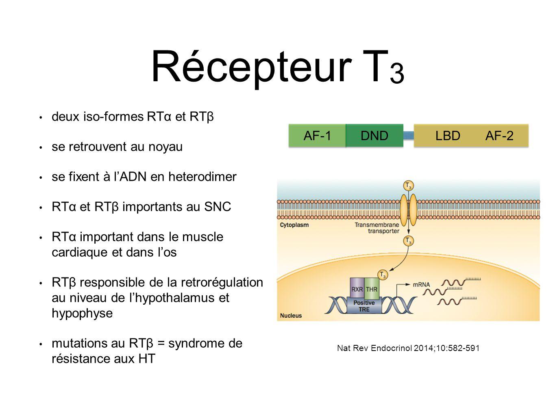 Récepteur T 3 deux iso-formes RTα et RTβ se retrouvent au noyau se fixent à l'ADN en heterodimer RTα et RTβ importants au SNC RTα important dans le muscle cardiaque et dans l'os RTβ responsible de la retrorégulation au niveau de l'hypothalamus et hypophyse mutations au RTβ = syndrome de résistance aux HT AF-1DNDLBDAF-2 Nat Rev Endocrinol 2014;10:582-591