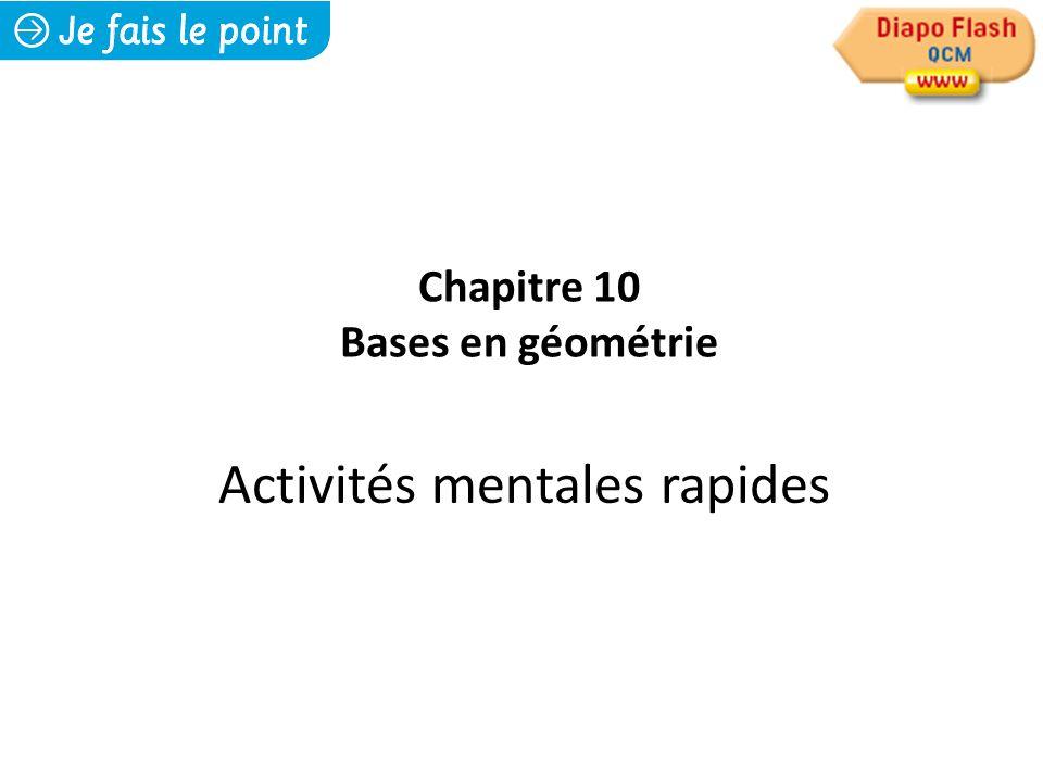 Activités mentales rapides Chapitre 10 Bases en géométrie