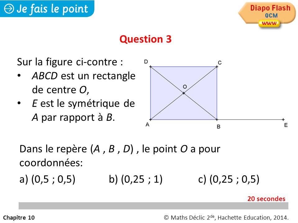 Dans le repère (A, B, D), le point O a pour coordonnées: a) (0,5 ; 0,5) b) (0,25 ; 1)c) (0,25 ; 0,5) Question 3 Chapitre 10© Maths Déclic 2 de, Hachette Education, 2014.