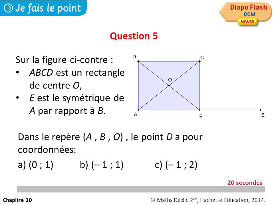 Dans le repère (A, B, O), le point D a pour coordonnées: a) (0 ; 1) b) (– 1 ; 1)c) (– 1 ; 2) Question 5 Chapitre 10© Maths Déclic 2 de, Hachette Education, 2014.