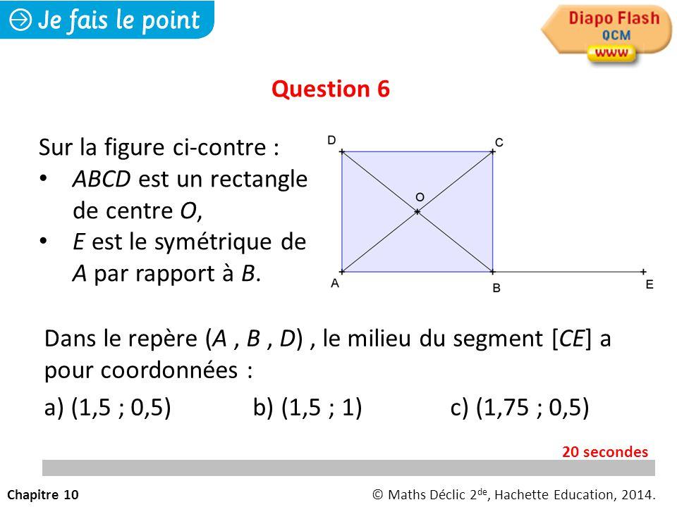 Dans le repère (A, B, D), le milieu du segment [CE] a pour coordonnées : a) (1,5 ; 0,5) b) (1,5 ; 1)c) (1,75 ; 0,5) Question 6 Chapitre 10© Maths Déclic 2 de, Hachette Education, 2014.