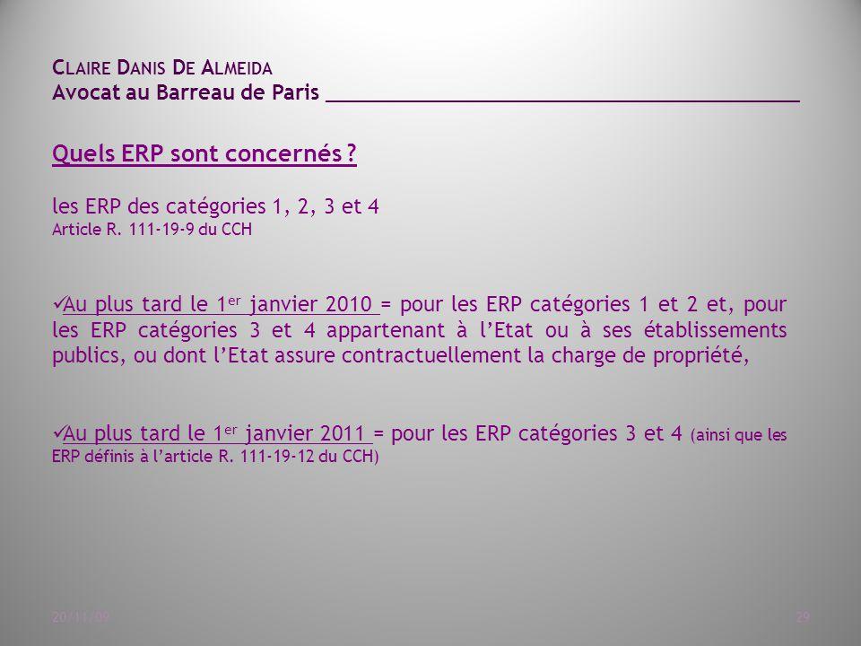 C LAIRE D ANIS D E A LMEIDA Avocat au Barreau de Paris ______________________________________ 20/11/0929 Quels ERP sont concernés .