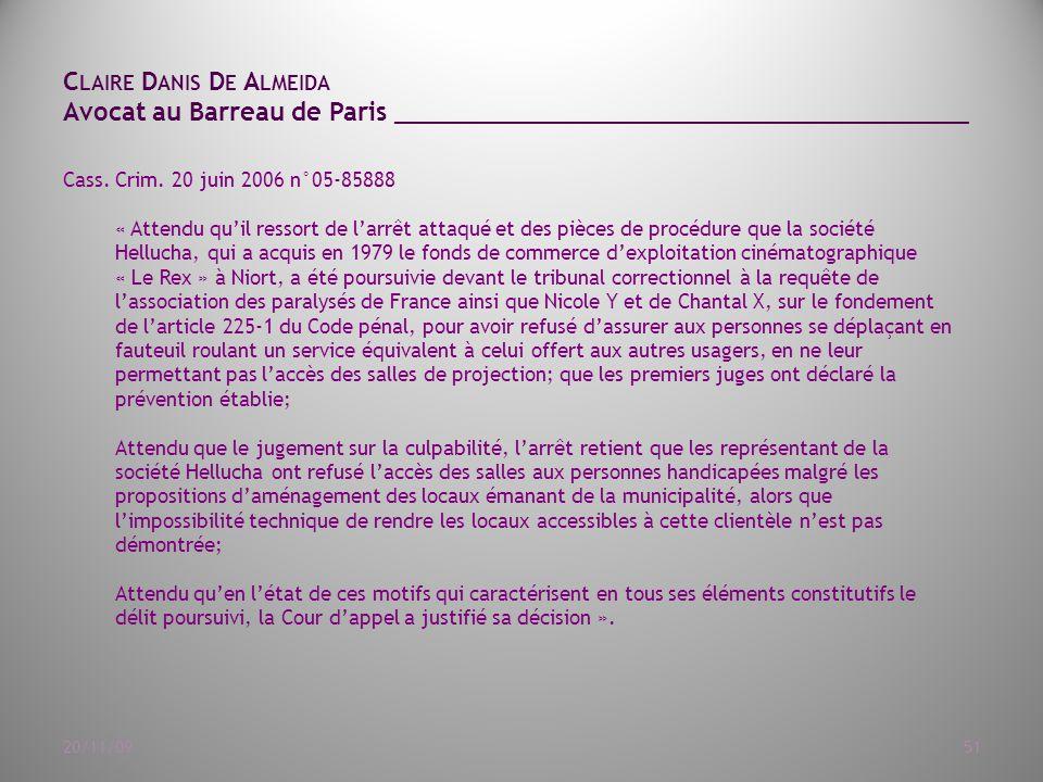 C LAIRE D ANIS D E A LMEIDA Avocat au Barreau de Paris ______________________________________ 20/11/0951 Cass.