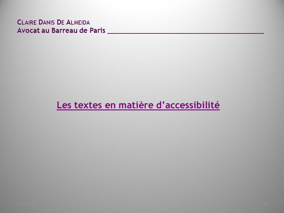 C LAIRE D ANIS D E A LMEIDA Avocat au Barreau de Paris ______________________________________ 20/11/099 Articles L.