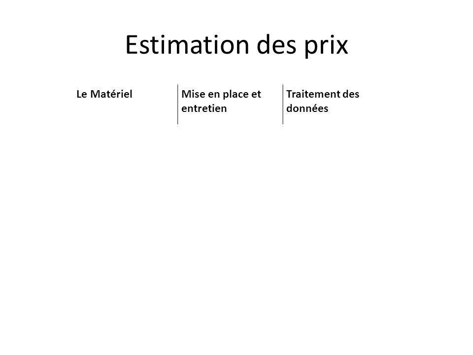 Estimation des prix Le MatérielMise en place et entretien Traitement des données