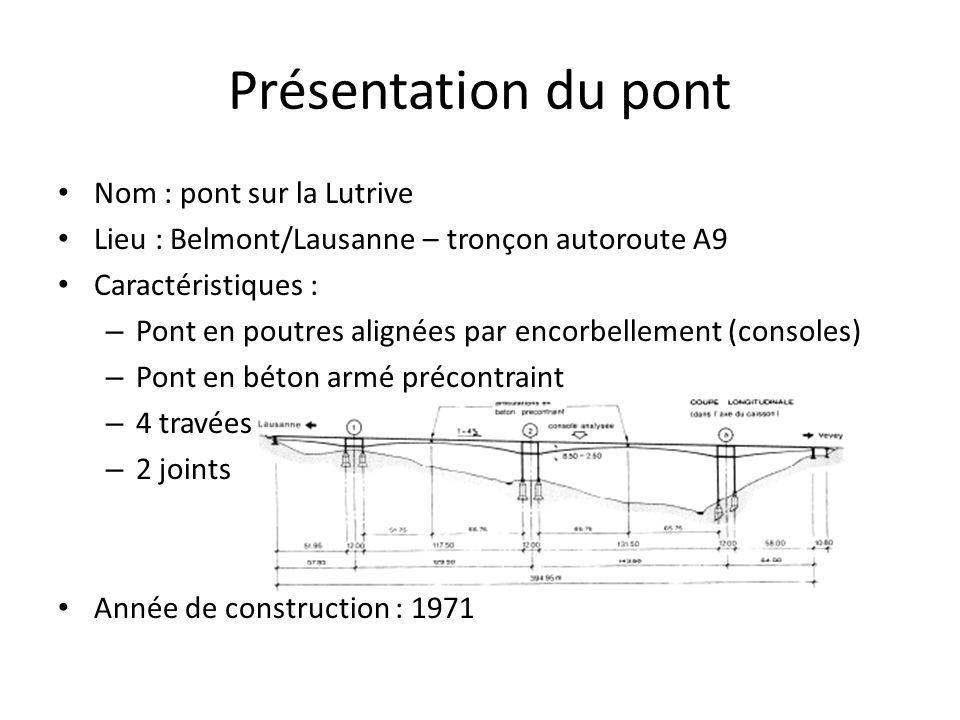Présentation du pont Nom : pont sur la Lutrive Lieu : Belmont/Lausanne – tronçon autoroute A9 Caractéristiques : – Pont en poutres alignées par encorbellement (consoles) – Pont en béton armé précontraint – 4 travées – 2 joints Année de construction : 1971