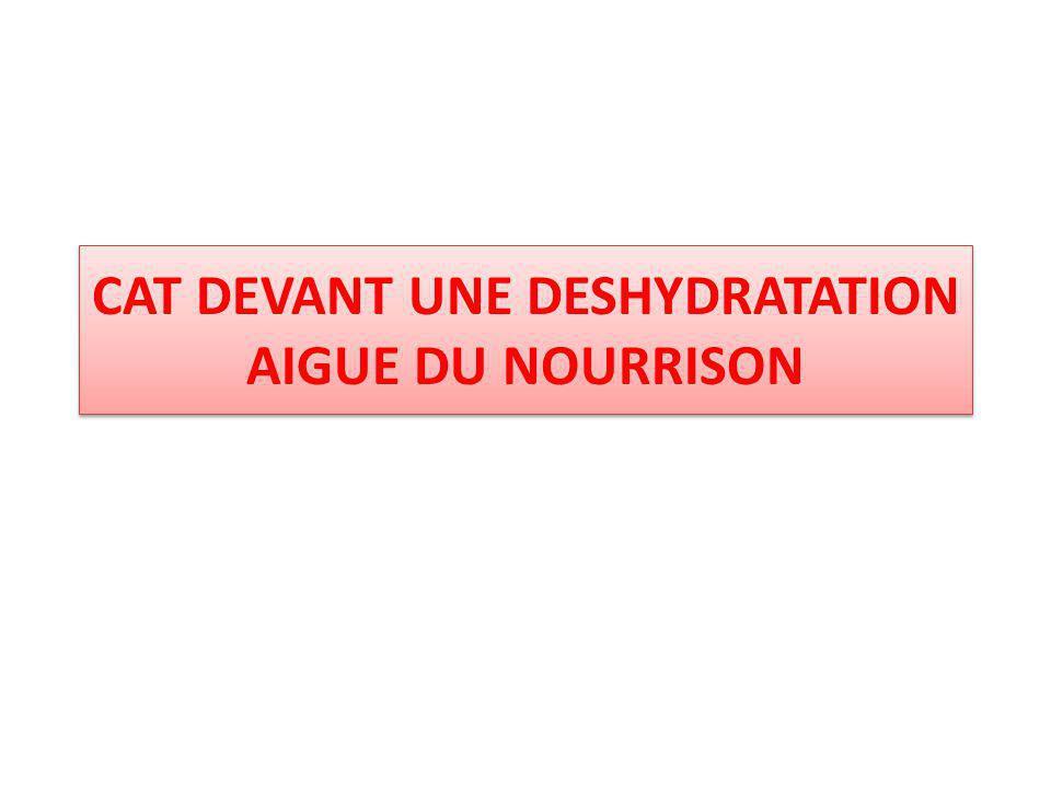 Réhydratation parentérale : Sérum salé isotonique; à 9 ‰ 1000ml =153meq Na et 153 meq Cl Sérum bicarbonate NaHCO3 isotonique; 14 ‰ 1meq Na +1meq de HCO3 SIR soluté intra veineuse de rehydratation; Cl 76meq/l+Mg 5meq/l+Na 50meq/l+Ca 5meq/l+K 26meq/l +glucose 50g/l Liquide de remplacement de vomissements ; 900cc SSI 9 ‰+15ccKCl +85cc SG à 5% Liquide de remplacement des diarrhées ; 720cc SG à 5%+240cc SBI+40cc KCl Autre : Furosémide,ATB, antisémitiques, antipyrétiques