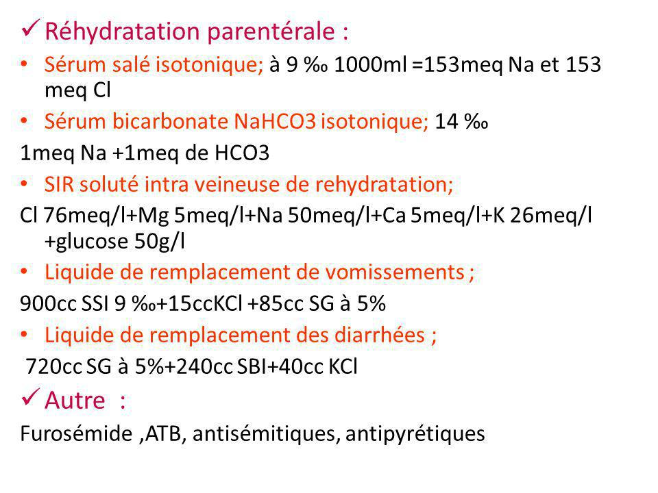 Réhydratation parentérale : Sérum salé isotonique; à 9 ‰ 1000ml =153meq Na et 153 meq Cl Sérum bicarbonate NaHCO3 isotonique; 14 ‰ 1meq Na +1meq de HC